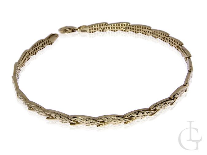 Złota bransoleta damska pr.0,585 z diamentowanym wykończeniem