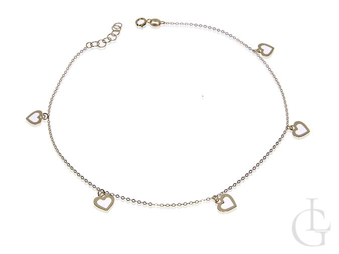 Złota bransoletka łańcuszkowa pr.0,585 choker z serduszkami
