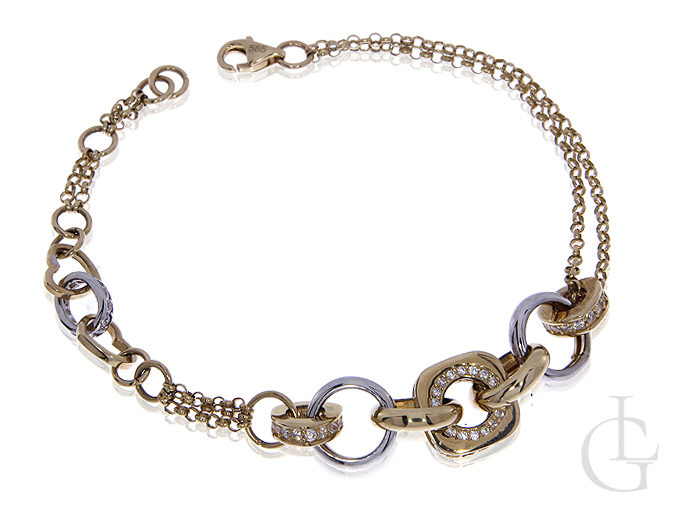 Złota bransoleta damska pr.0,585 z cyrkoniami i białym zlotem