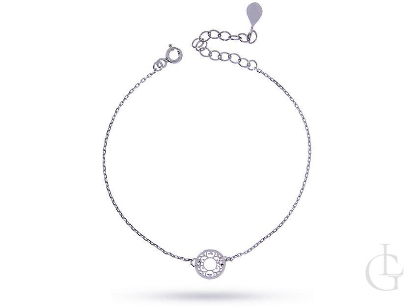 Bransoletka łańcuszkowa celebrytka srebro rodowane pr.0,926 z ażurowym kółeczkiem