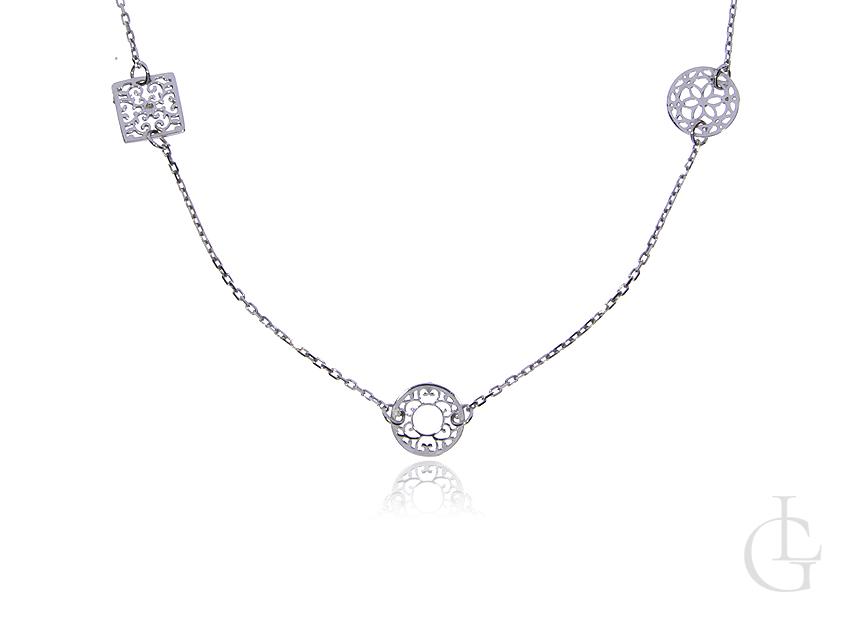 Naszyjnik celebrytka ze srebra rodowanego pr.0,925 ażurowe zawieszki