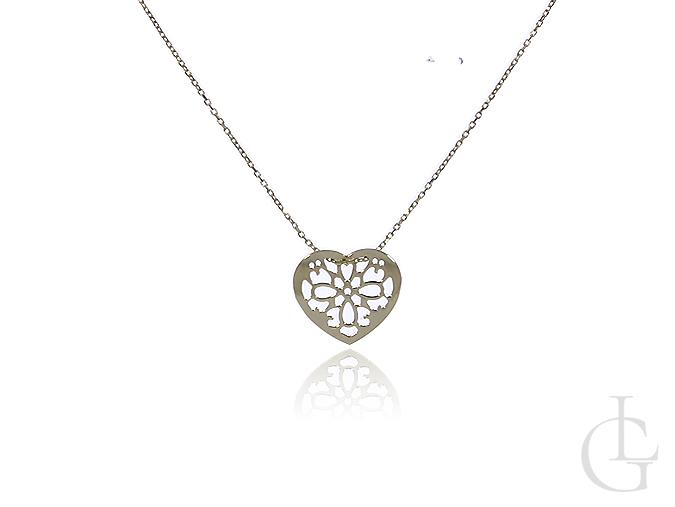 Złota celebrytka naszyjnik damski serce ażurowe złoto 585 14K