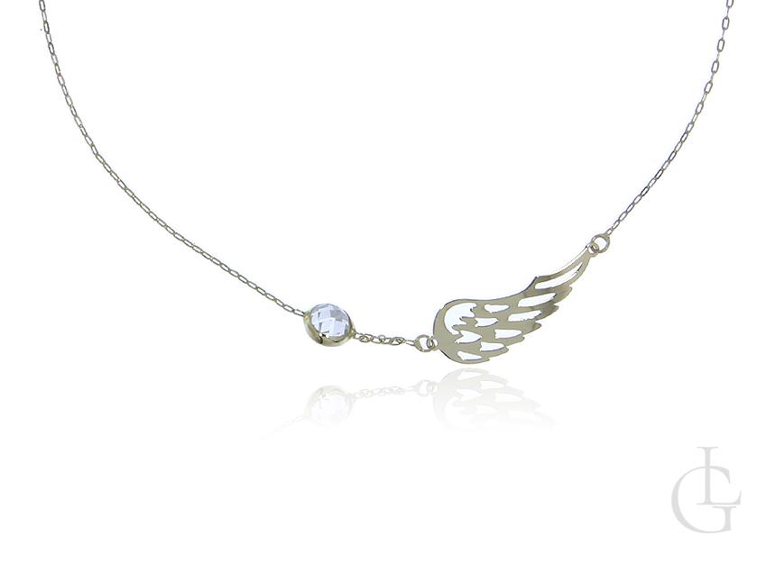 Łańcuszek naszyjnik celebrytka ze złota pr.0,585 ze skrzydłem i cyrkonią