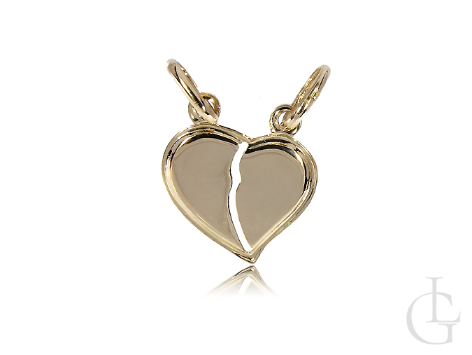 Dwie połówki serce  - złota zawieszka