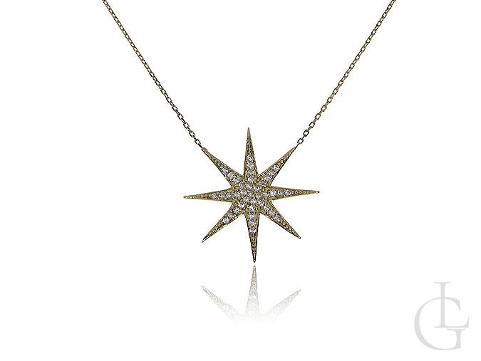 Celebrytka złoty łańcuszek naszyjnik z gwiazdą i cyrkoniami