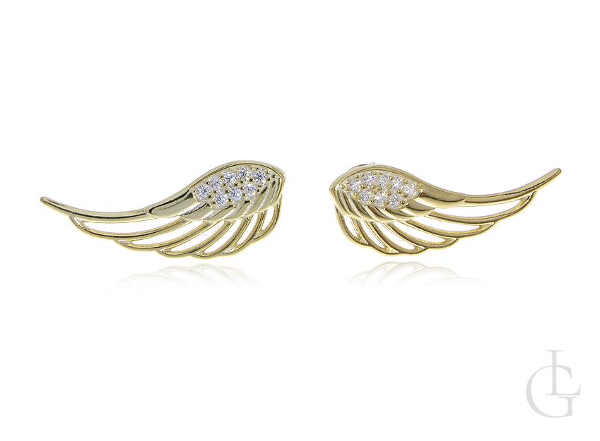 Kolczyki na wkręty ze srebra pozłacanego pr.0,925 skrzydła z cyrkoniami