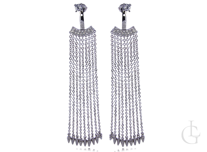 Cudowne długie kolczyki łańcuszkowe z cyrkoniami srebro rodowane pr.0,925