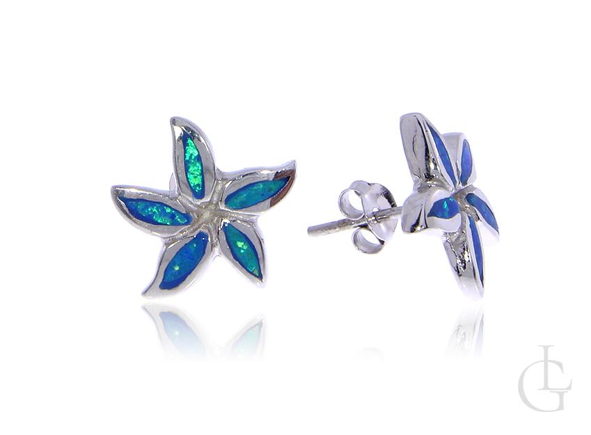 Rozgwiazdy kolczyki ze srebra rodowanego pr.0,925 z opalem błękitnym
