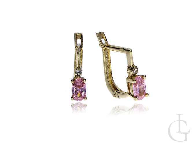 Kolczyki na angielskie zapięcia złoto pr.0, 585 z różowymi cyrkoniami