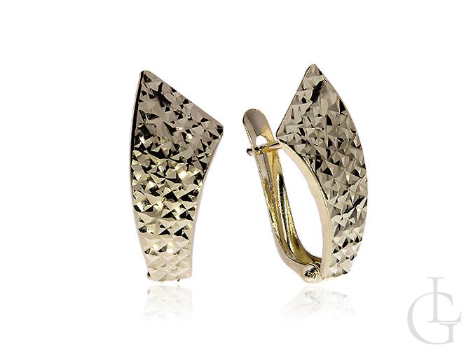 Okazałe złote kolczyki angielskie zapięcia złoto pr.0,585 diamentowane