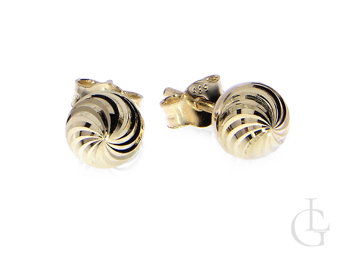 Diamentowane kulki kolczyki z klasycznego złota pr.0,585 na wkręty
