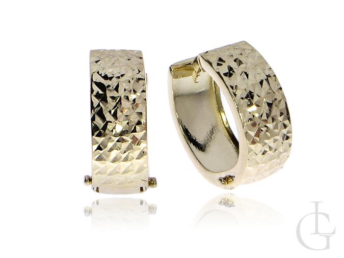 Kółeczka złote kolczyki pr.0,585 młotkowane na prezent