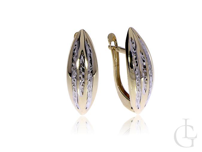 Kolczyki ze złota pr.0,585 na angielskie zapięcia z diamentowaniem