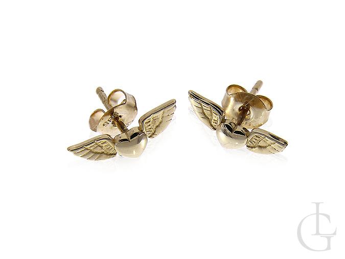 Kolczyki złote serduszka ze skrzydłami anioła