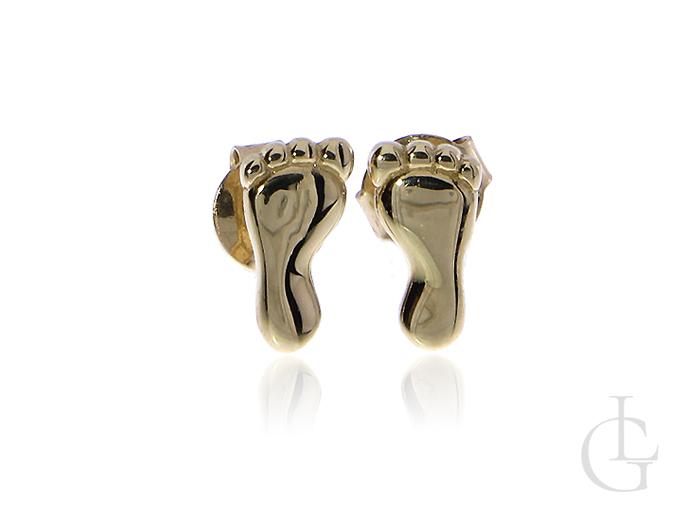 Złote kolczyki pr.0,585 na wkręty stópki