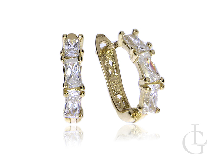 Kolczyki złote pr.0,585 angielskie zapięcia z cyrkoniami na prezent