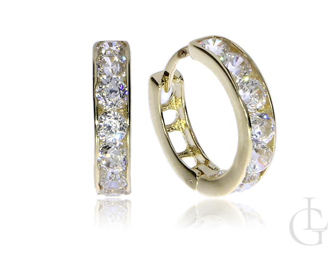 Złote kolczyki pr.0,0,585 maleńkie kółeczka z cyrkoniami