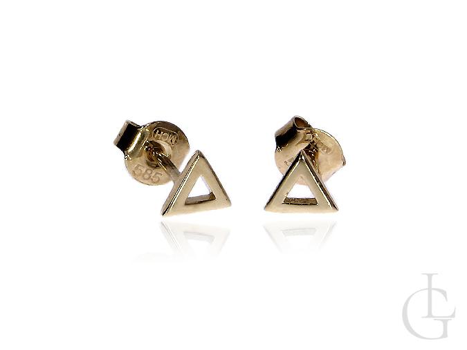 Złote kolczyki pr.0,585 na wkręty trójkąty
