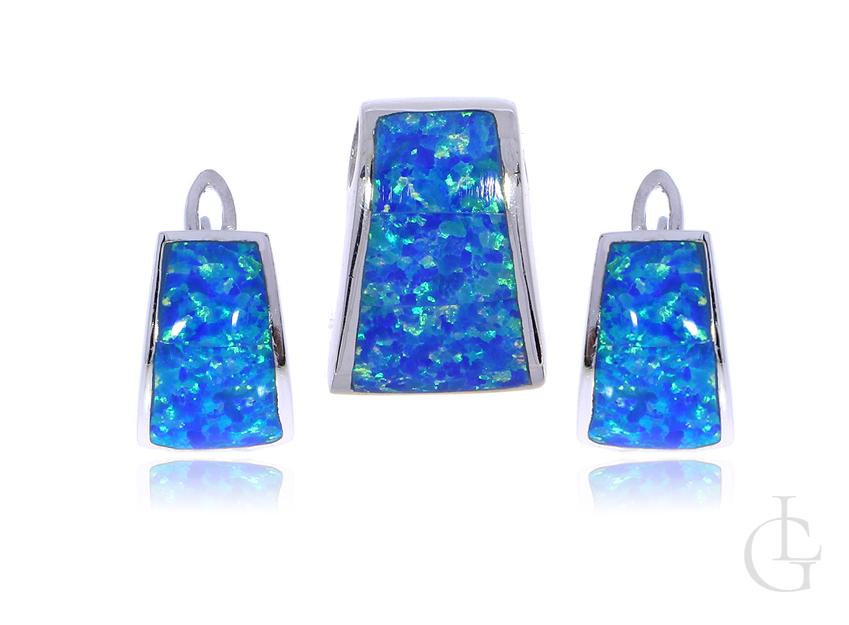 Biżuteria damska kolczyki przywieszka ze srebra rodowanego pr.0,925 z opalem błękitnym
