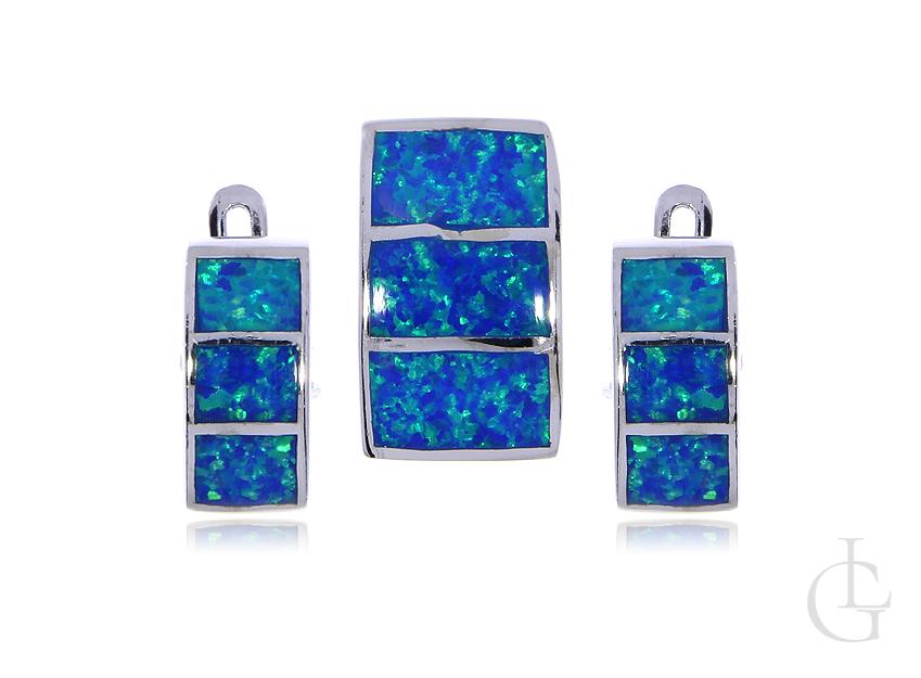 Opal błękitny komplet biżuterii srebro rodowane pr.0,925 kolczyki zawieszka