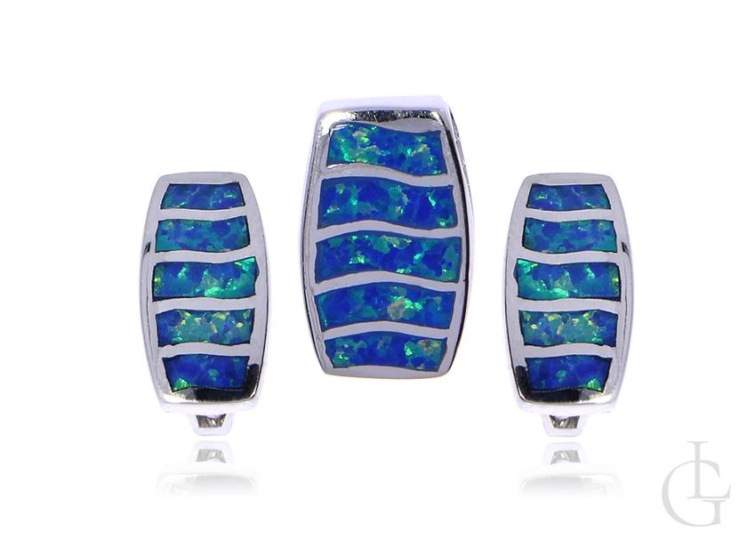Biżuteria ze srebra rodowanego pr.0,925 kolczyki angielskie zapięcia wisiorek opal