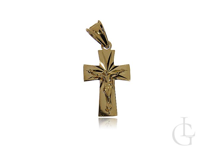 Krzyżyk złoty pr.0,585 diamentowany z wizerunkiem Jezusa na Komunię Świętą Chrzest