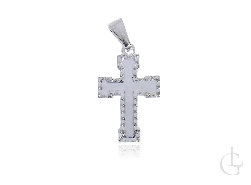 Krzyżyk ze srebra pr.0,925 z diamentowanym wykończeniem