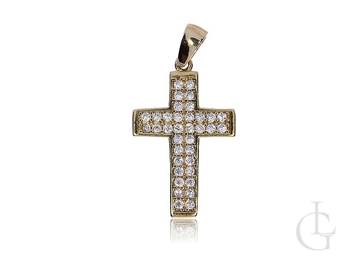 Krzyżyk złoty 14 k z cyrkoniami
