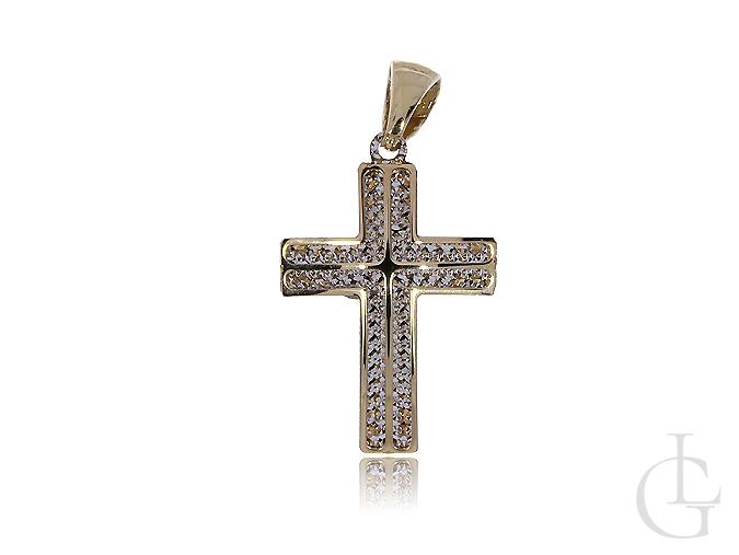 Krzyżyk 3D z klasycznego i białego diamentowanego złota pr.0,585