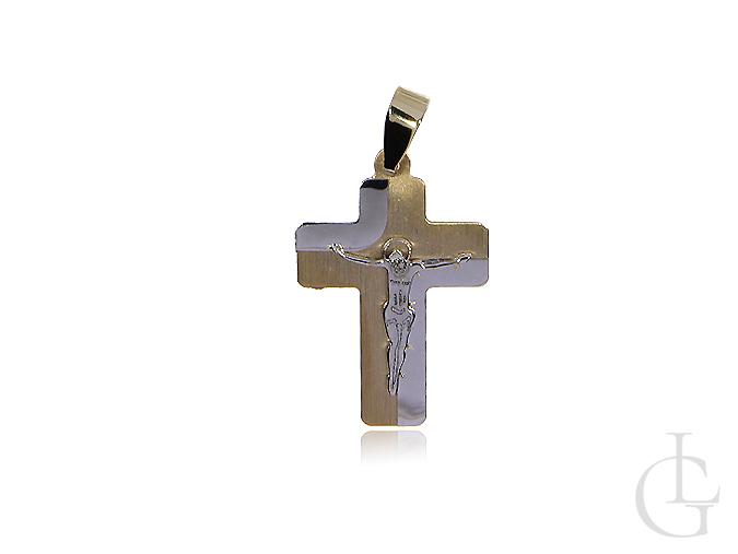 Krzyżyk z żółtego i białego zlota pr. 0,585 z wizerunkiem Jezusa