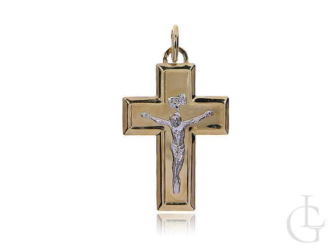 Krzyżyk ze złota pr.0,925 z wizerunkiem Jezusa z białego złota