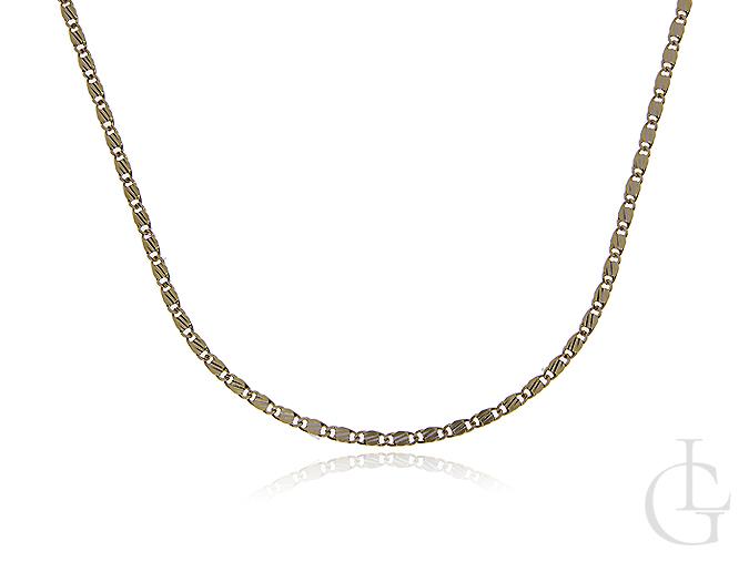 Łańcuszek z klasycznego p pełnym splocie z diamentowanym wykończeniem