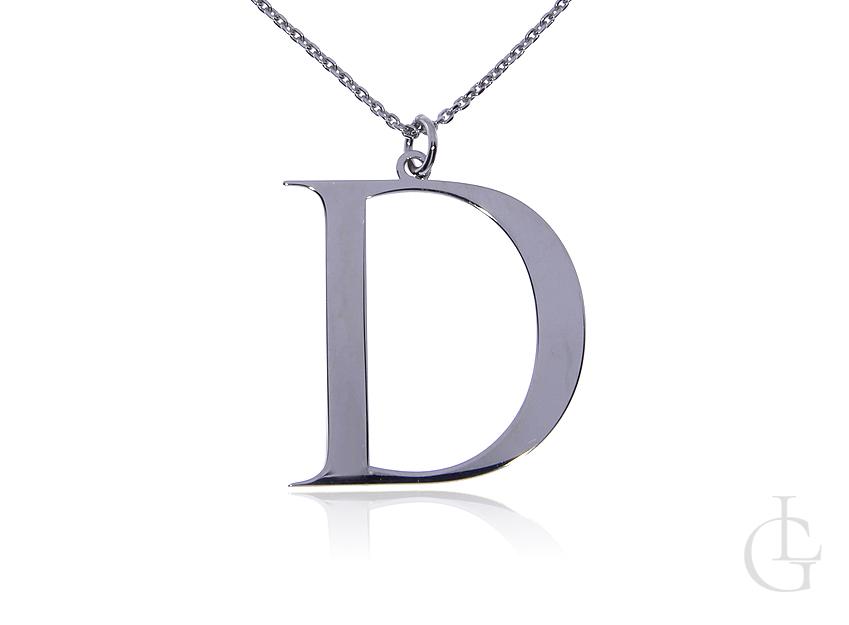 D jak Daria Dorota Danuta naszyjnik celebrytka łańcuszek z literą srebro rodowane pr.0,925