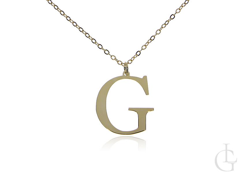 G jak Gosia, Gabrysia, Greta łańcuszek celebrytka naszyjnik z literą srebro pozłacane pr.0,925