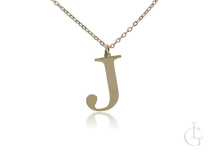 J jak Jagoda Judyta Justyna celebrytka naszyjnik łańcuszek z literą srebro pozłacane pr.0,925