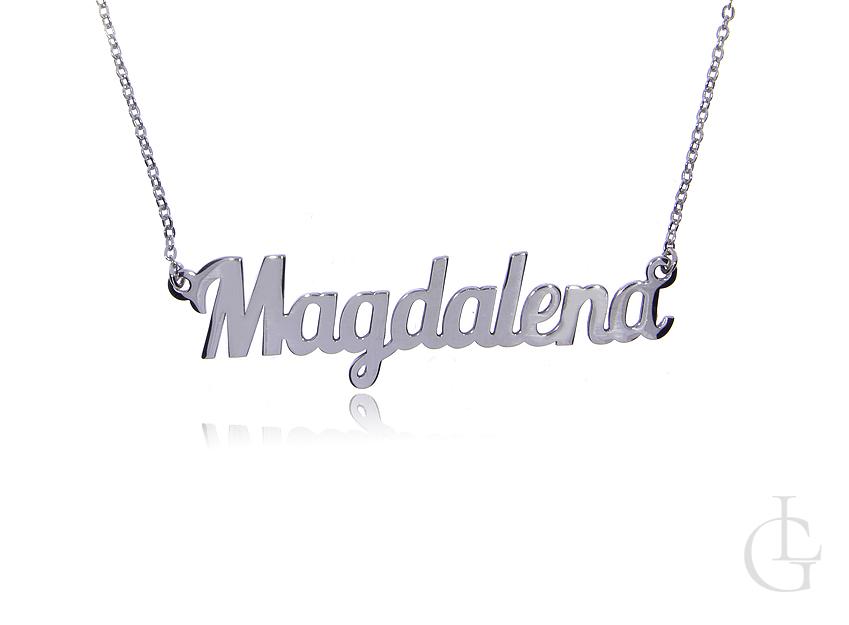 Magdalena łańcuszek celebrytka naszyjnik z imieniem srebro rodowane pr.0,925