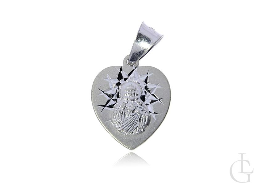 Szkaplerz srebrny medalik pr.0,925 w kształcie serca