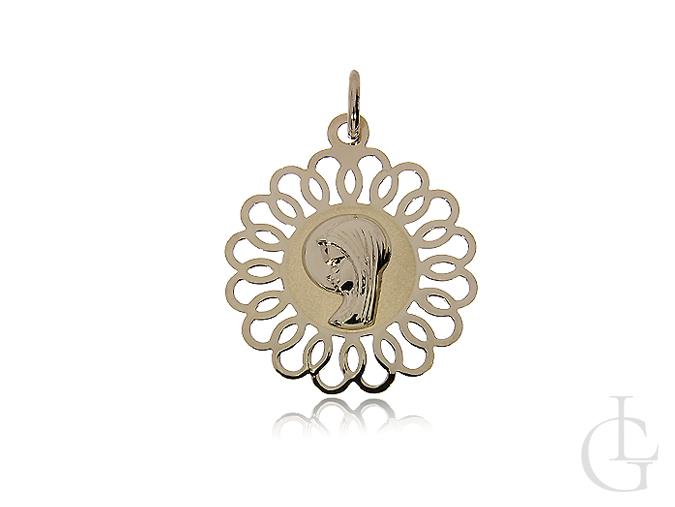 Złoty medalik pr.0,585 z Matką Bożą modlącą