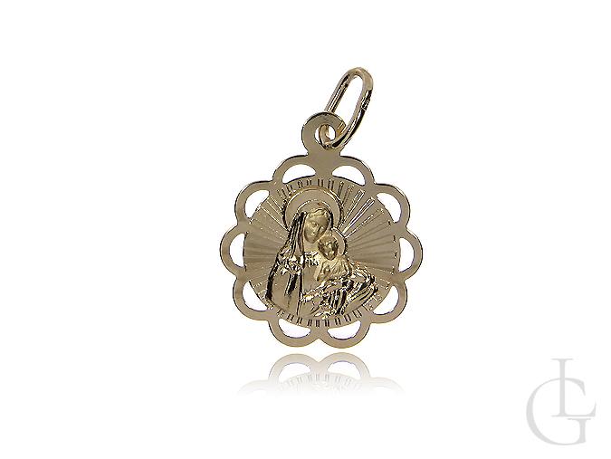 Złoty medalik z Matką Boską i dzieciątkiem Jezus