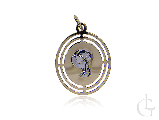 Owalny medalik ze złota pr.0,585 z Matką Bożą