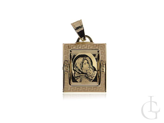 Medalik złoty pr.0,585 z Matką bożą i Dzieciątkiem Jezus z greckim wzorem