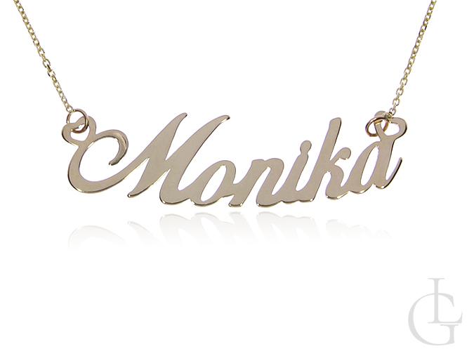 Monika celebrytka ze złota pr.0,585 łańcuszek z imieniem naszyjnik z napisem