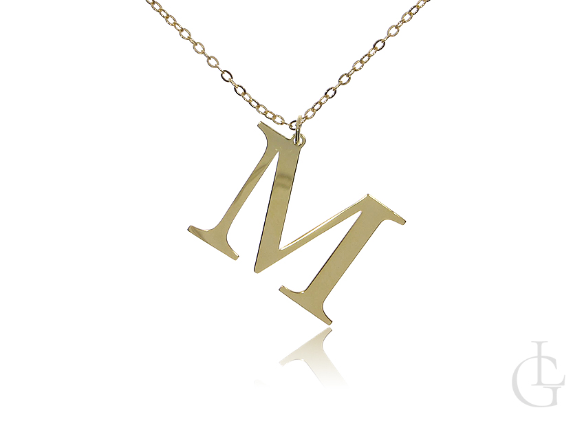 M jak Maja Marzena Marysia naszyjnik celebrytka łańcuszek z literą srebro pozłacane pr.0,925
