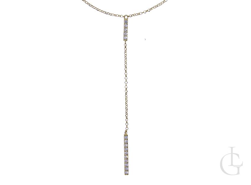Naszyjnik celebrytka krawat ze srebra pozłacanego pr.0,925 z cyrkoniami