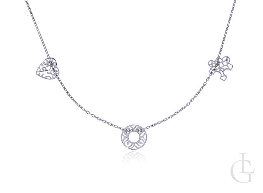 Łańcuszek celebrytka ze srebra rodowanego pr.0,925 z kółeczkie serduszkiem i puzzlem