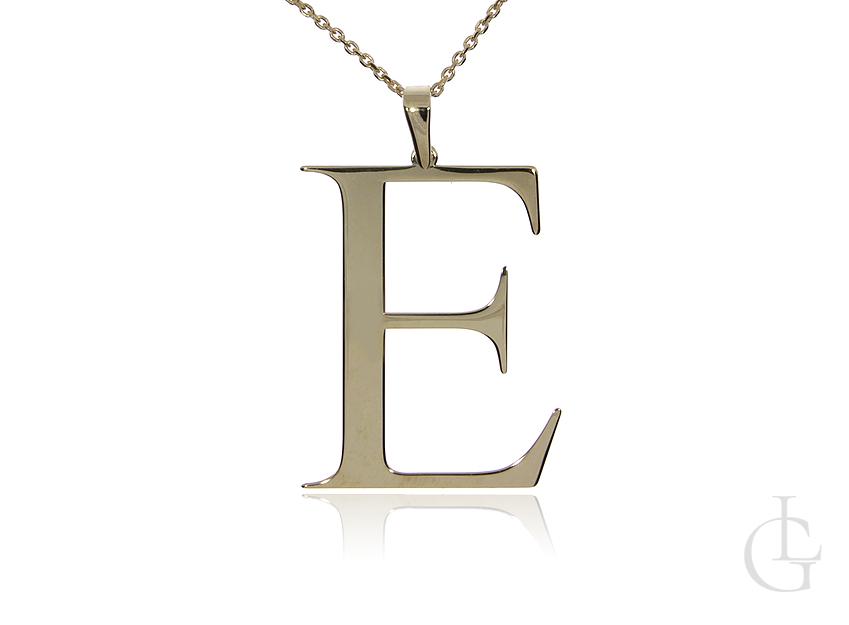 E jak Ewa Elwira, Edyta naszyjnik z literą srebro pozłacane pr.0,925