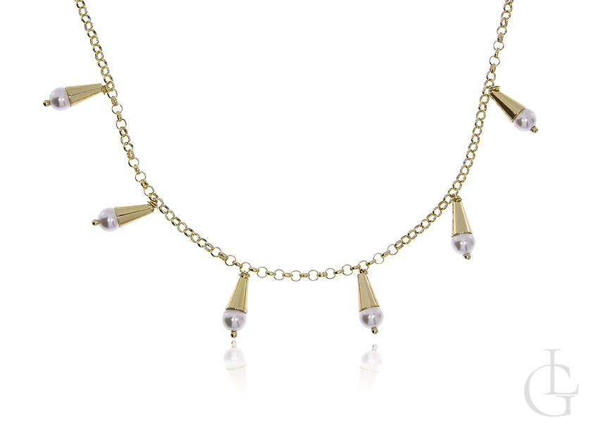 Naszyjnik celebrytka choker ze srebra pozłacanego pr.0,925 z perełkami
