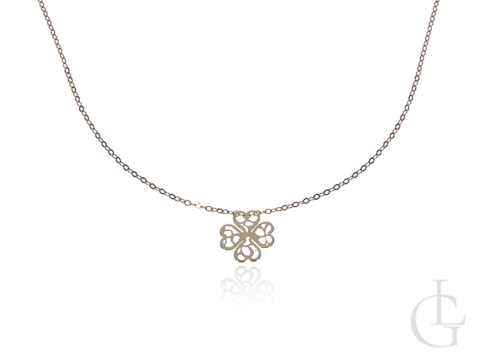 Naszyjnik złota celebrytka pr.0,585 z ażurową koniczyną na szczęście