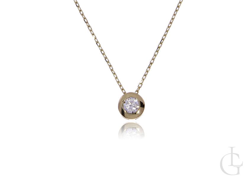 Celebrytka naszyjnik złoty pr.0,585 damski kulka cyrkonia złoto żółte 14K