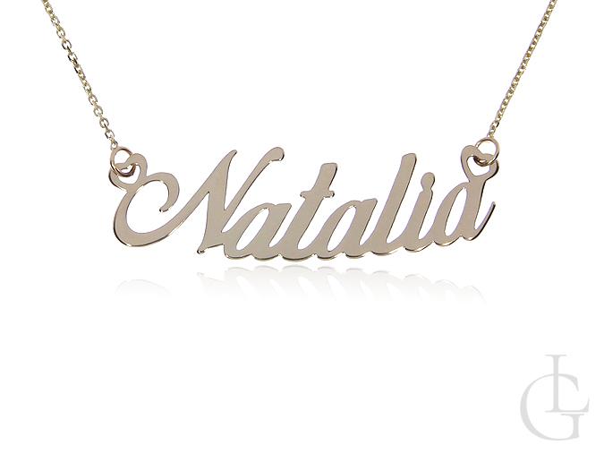Natalia złota celebrytka pr.0,585 z imieniem łańcuszek naszyjnik z napisem na prezent